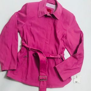 Esprit Jacket Pink Belted Fitted Full Zip Trench
